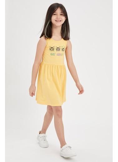 DeFacto Kız Çocuk Unicorn Baskılı Kolsuz Elbise Sarı